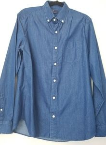 Gap Indigo Twill Long Sleeve Button Front Shirt